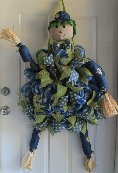 diy mesh scarecrow  wreath depot