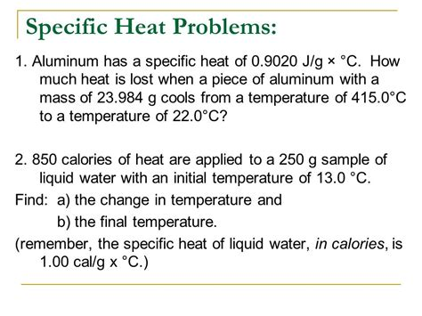 Thermochemistry Specific Heat  Ppt Video Online Download
