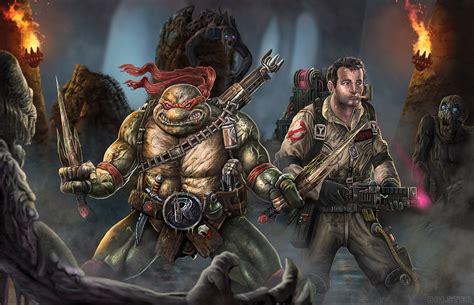 ghostbusters  teenage mutant ninja turtles team