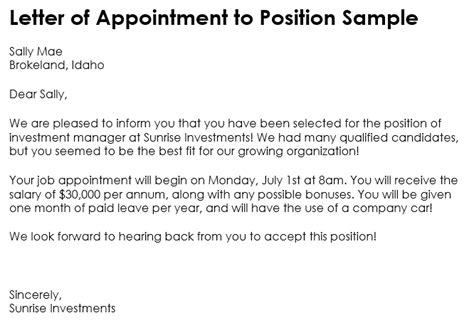samples  appointment letter format    word