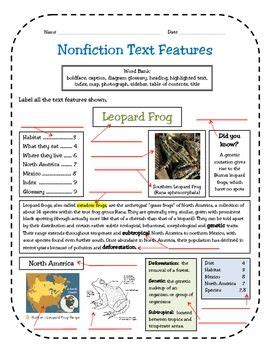 Nonfiction Text Features Assessment  Nonfiction Text