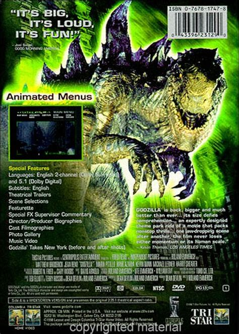 Godzilla 1998 Cover by Godzilla 1998 Dvd Cover Www Pixshark Images
