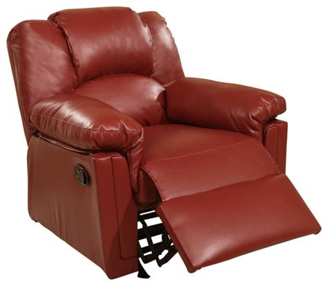 burgundy bonded leather rocker and recliner contemporary