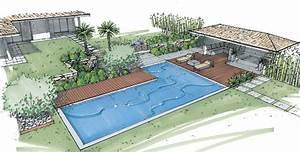 perspectives architecte paysagiste thomas gentilini With idee deco jardin contemporain 6 piscine forme bassin de nage traditionnel piscinelle