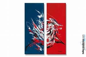 Grand Tableau Blanc : tableau d 39 art moderne triptyque rouge bleu le grand ~ Teatrodelosmanantiales.com Idées de Décoration