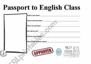 Passport Template For Students Passport To English Class Esl Worksheet By Stabes