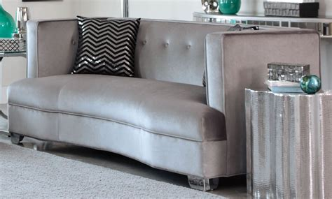 cloud 7 sofa upholstered in shimmering silver grey velour caldwell silver loveseat from coaster 505882 coleman