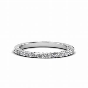 Micropave Thin Diamond Wedding Band In 950 Platinum