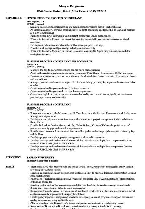 Business Consultant Resume by Sle Resume Business Process Consultant Process