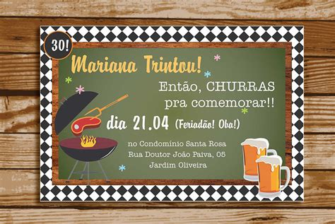 ARTE de convite de aniversário - Churrasco e Boteco