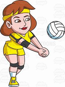 A Female Volleyball Player Enjoying A Game Vector Clip Art ...