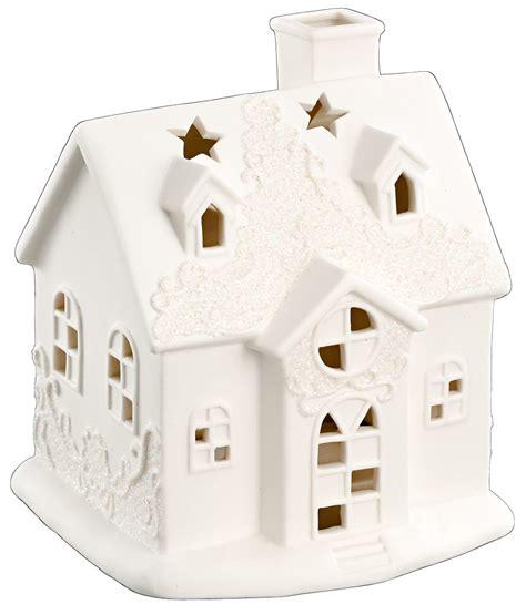 Lichthaus Porzellan Windlicht Haus Weiß Höhe 16cm