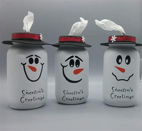 snowman mason jar tissue dispenser christmas mason jars