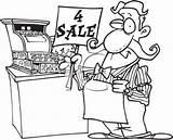 Cartoon Clerk Cash Sales Clipart Grocer Register Sign Holding Standing sketch template
