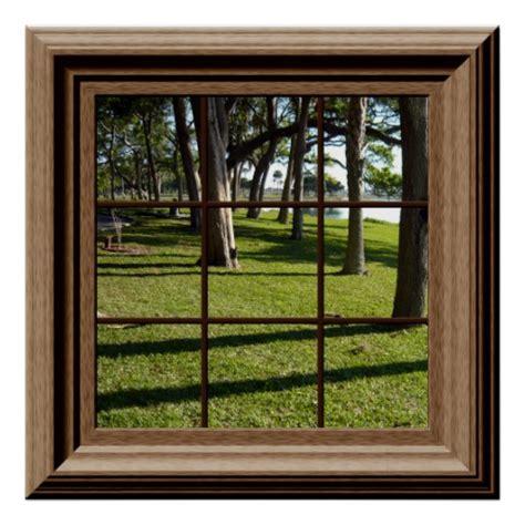 faux window poster peaceful landscape  trees zazzle