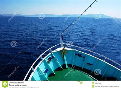 The Bow Of A Boat Where by Bow Of The Boat On Water With Horizon Royalty Free Stock
