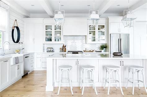 White Cottage Kitchen Island with White French Backless
