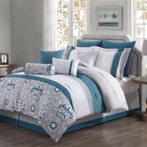 chloe 10 piece reversible comforter set teal gray ivory