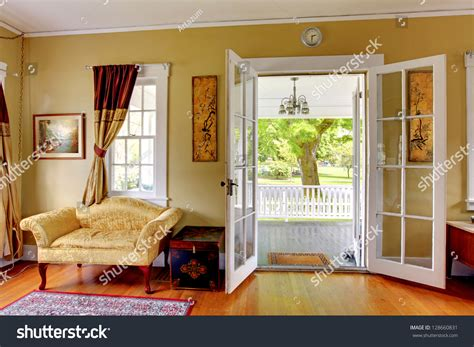 Living Room Open Doors Front Porch Stock Photo 128660831 Buy Clawfoot Bathtub Repair Woodworking Tray Cut Into Shower How To Unclog A Drain Clogged With Hair Splash Guard Lowe S Canada Replace Faucet Handle Mini Chandelier Over