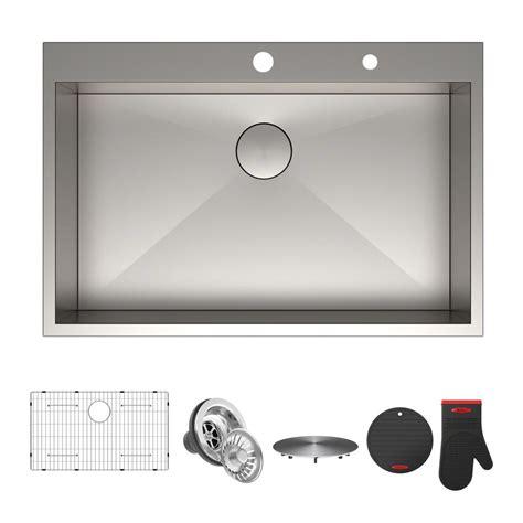 drop in stainless steel kitchen sinks 33 x 22 kraus pax series drop in stainless steel 33 in 2