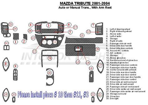 car engine manuals 2004 mazda tribute auto manual mazda tribute 2001 2004 dash trim kit auto or manual trans with armrest console interior