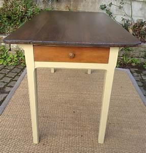 Table De Cuisine Avec Tiroir : table de cuisine ancienne bois peint et patin avec tiroir ~ Teatrodelosmanantiales.com Idées de Décoration