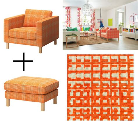 ikea chair and ottoman covers ikea karlstad husie orange armchair and footstool