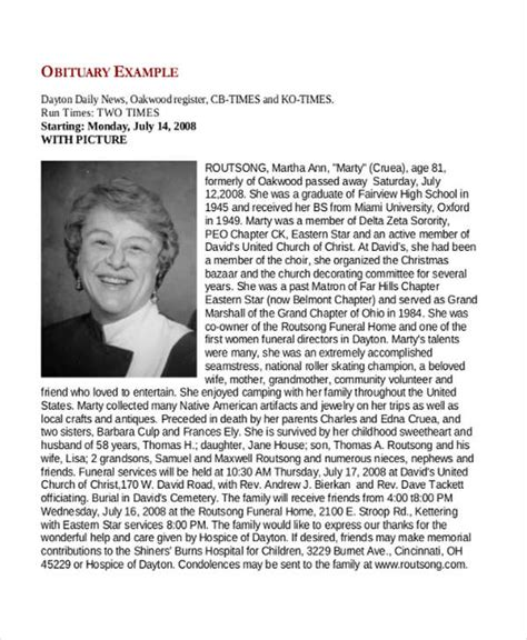 Obituaries Exles Templates by Obituary Sles Free Premium Templates