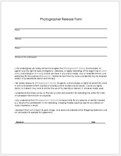 photographer release form  ms word word excel templates