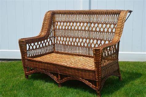 Wicker Settee by Antique Paine Furniture Willow Cross Wicker Settee
