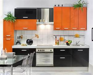 Vibrant orange kitchen decorating ideas interior design for Kitchen cabinet trends 2018 combined with medication label stickers