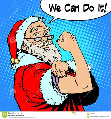santa claus we can do it power protest christmas stock