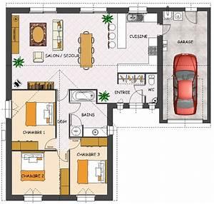 agreable plan maison 80m2 plein pied 4 construction With plan maison 80m2 plein pied