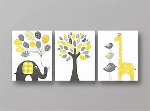Cadre Lumineux Lettre : lot de 3 illustrations pour chambre d 39 enfant et bebe jaune et gris d coration pour enfants par ~ Teatrodelosmanantiales.com Idées de Décoration