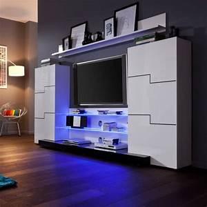 Meuble Tv Led Blanc Laqué : ensemble meuble tv led blanc laqu achat vente meuble tv ensemble meuble tv led bla les ~ Teatrodelosmanantiales.com Idées de Décoration