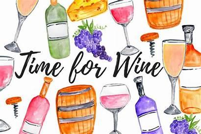 Wine Clipart Watercolor Grapes Graphics Illustrations Market