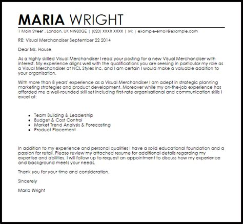 visual merchandiser cover letter sample cover letter templates examples