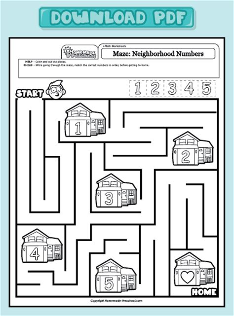 Coloring Pages Home Preschool Worksheets Preschool Math Worksheets Maze Neighborhood, Preschool