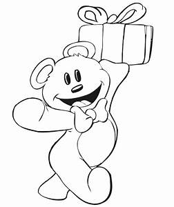 Birthday Coloring Page | A TEddy Bear Carrying a Present