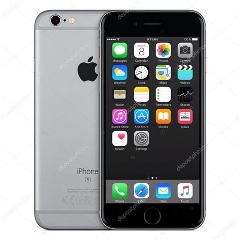 Space Gray Apple Iphone 6s Front View With Ios 9 On The