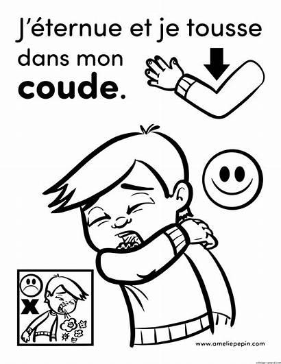 Elbow Cough Sneeze Into Coloring Coude Dans