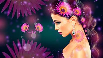 Tony Kokhan Side Flowers Brunette Hairs Wallpapers