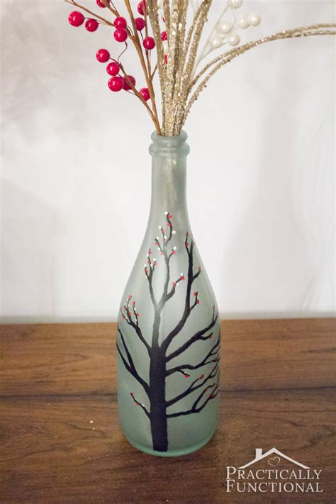 diy wintry frosted glass vase