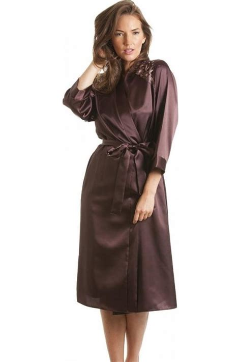 womens ladies luxury satin chocolate bath robe wrap sizes