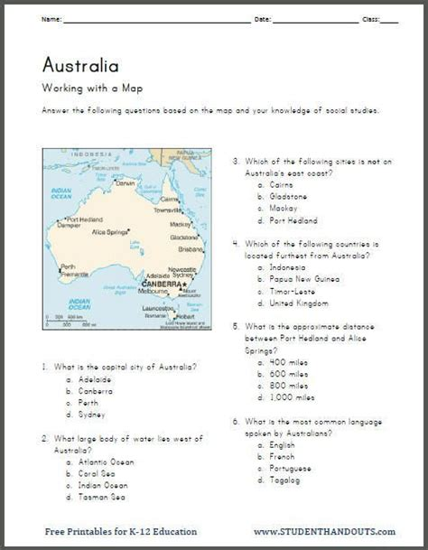 australia map work printable worksheet geography