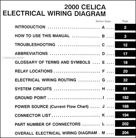 wiring diagram toyota celica 2000 2000 toyota celica wiring diagram manual original