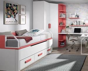 chambre avec lit bureau armoire et etageres meubles ros With tapis chambre ado avec matelas livré en 24h