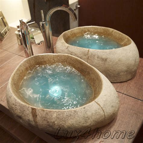 lavabo batu  natural river stone sinks