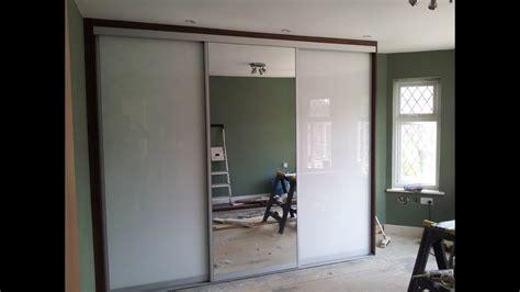 sliding closet doors custom made sliding door wardrobe white glass mirror