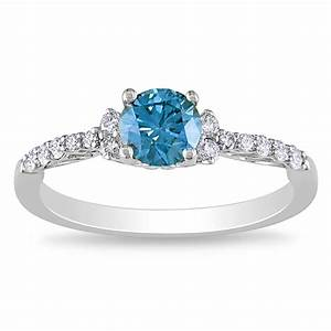 miadora 14k white gold 3 4ct tdw blue or pink diamond ring With blue and white diamond wedding rings